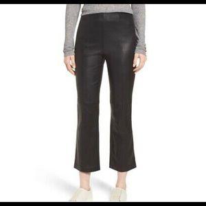 Nordstrom Signature black leather crop pants